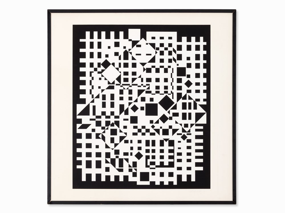 Victor Vasarely, Serigraph, Composition Black and