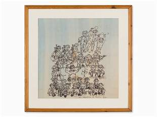 Horst Janssen (1929-1995), Drawing, Konzert der Affen,