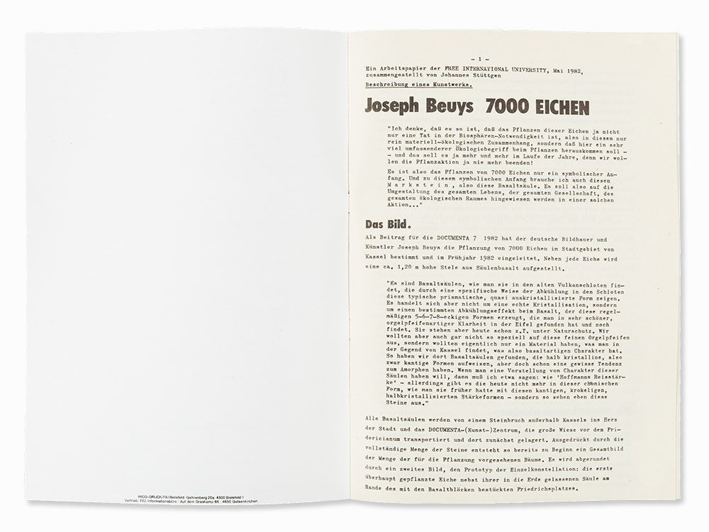 Joseph Beuys (1921-1986), 7000 Oaks. A Working Paper, - 8