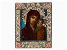 Icon, Mother of God of Kazan with Silver & Enamel