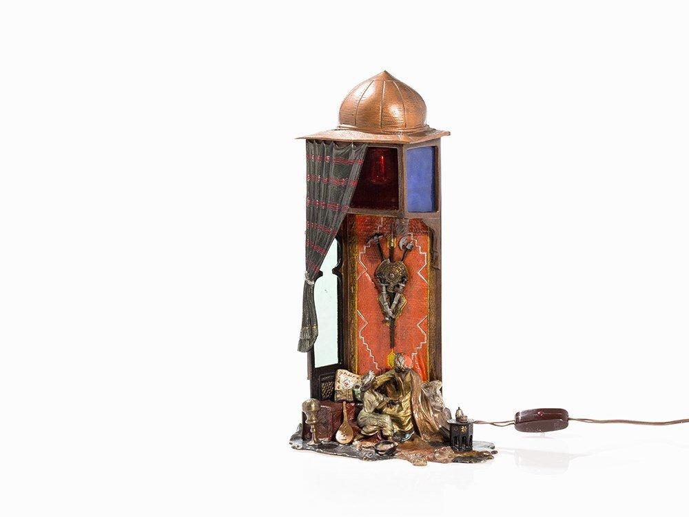 Vienna Bronze Table Lamp with Oriental Scene, c. 1920
