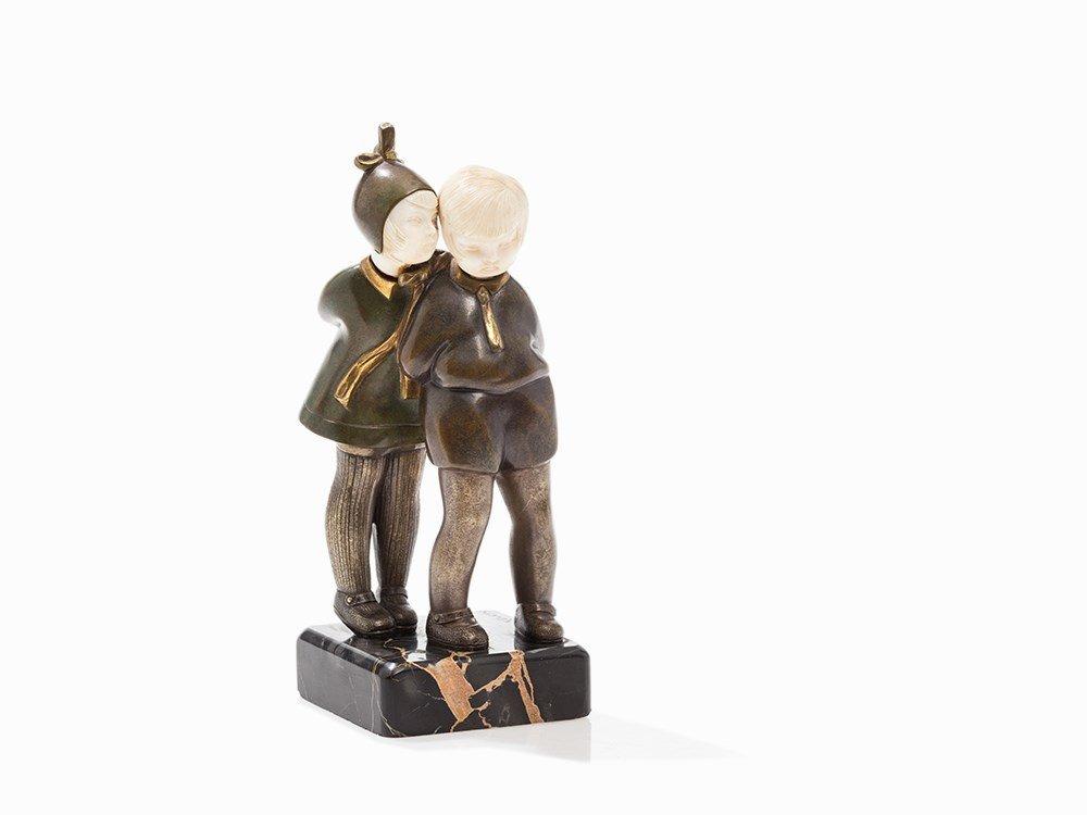 Alexandre Kéléty, Chryselephantine Pair of Children, c.