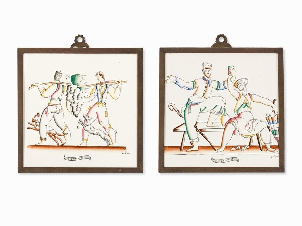 Gio Ponti, 2 Porcelain Tiles, Richard Ginori, Italy,