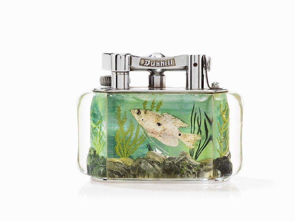 Dunhill Table Lighter 'Aquarium', Lucite/Metal, England - 3