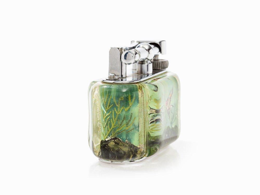 Dunhill Table Lighter 'Aquarium', Lucite/Metal, England - 7