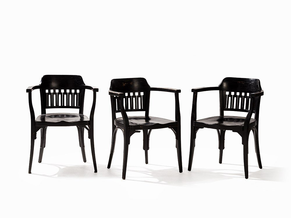 Otto Wagner, 3 Armchairs, J. & J. Kohn, Austria, c.