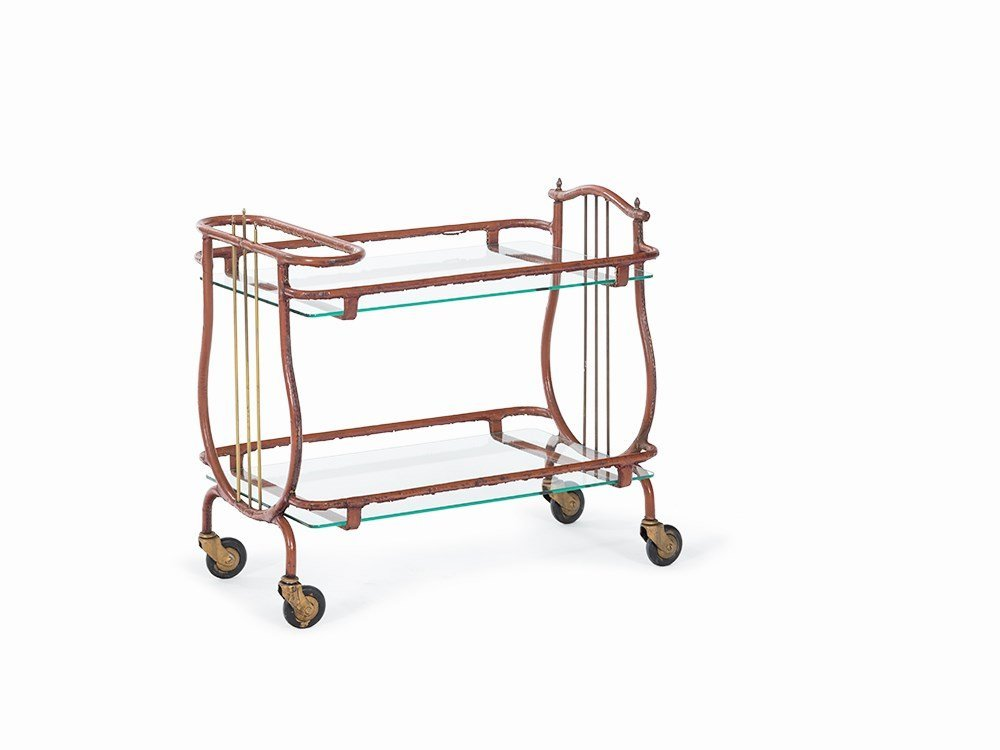 Jacques Adnet, Trolley with Leather Covering, 1950s