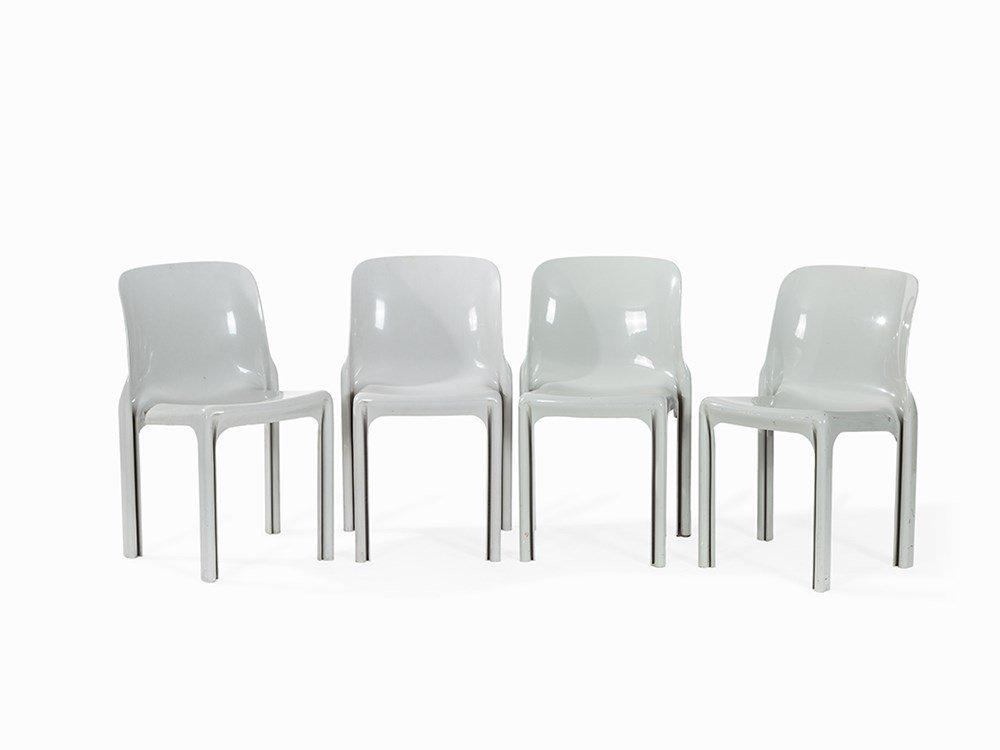 Vico Magistretti, 4 Stacking Chairs 'Selene', Artemide,