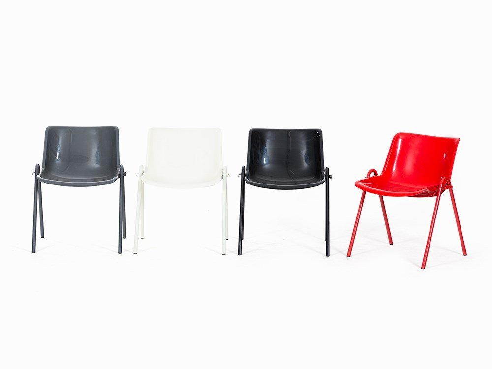 Osvaldo Borsani, 4 MODUS Stackable Chairs, Tecno,