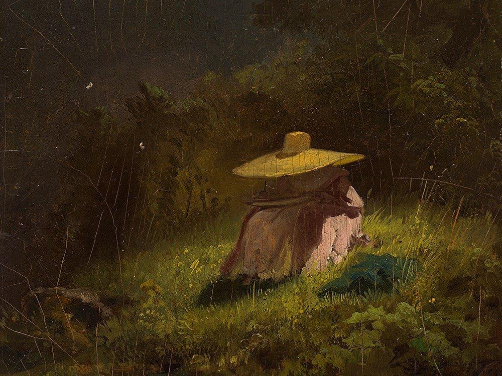 Carl Spitzweg (1808-1885), Lady with Straw Hat, Oil, c.