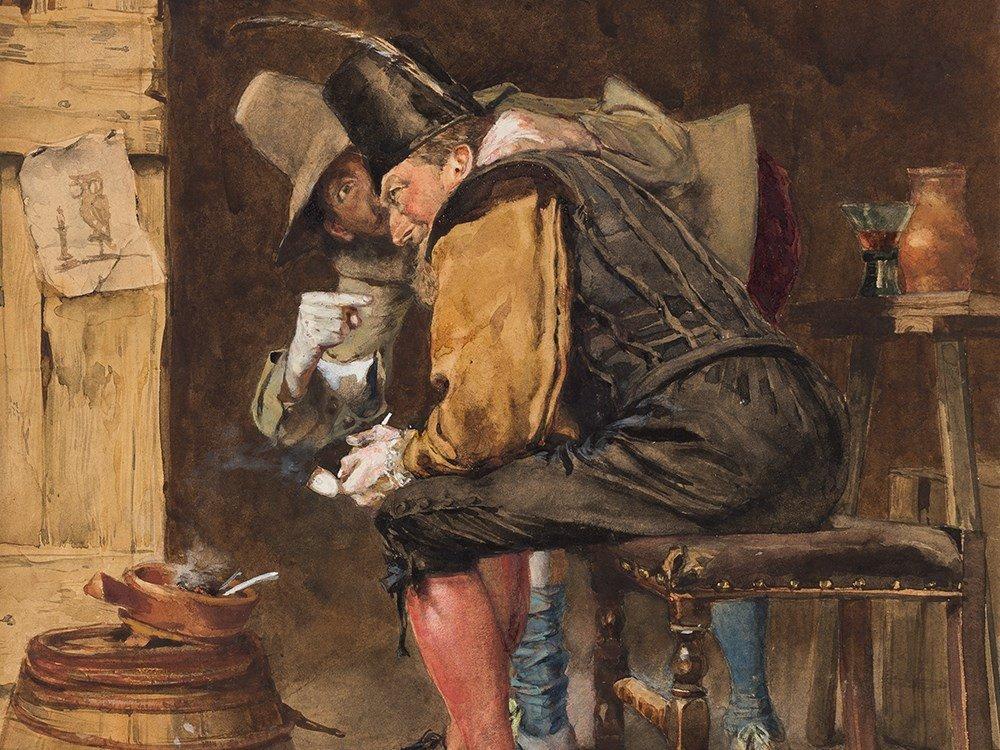 Franz Skarbina, Watercolor, Two Men Bargaining, 1881