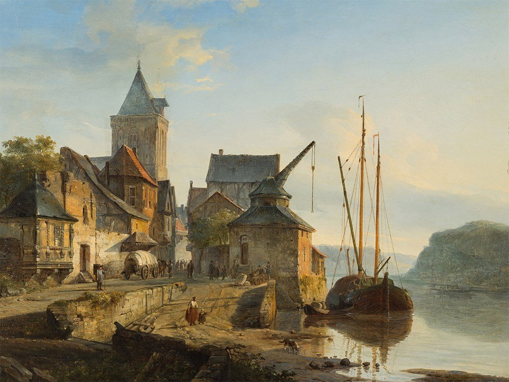 Cornelis Springer (1817-1891), Barge on a Rhine Harbor,
