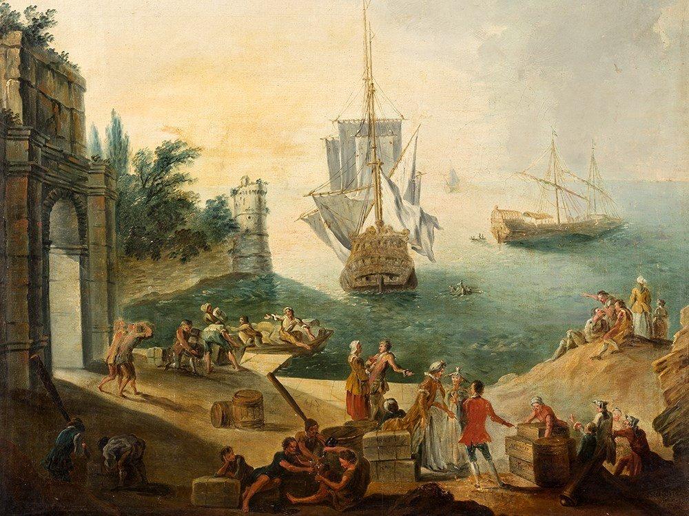 Joseph Baudin (1691-1753), Harbor Scene, Oil Painting,