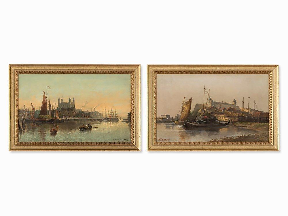 Karl Kaufmann, Habour Scenes, Pair of Paintings,