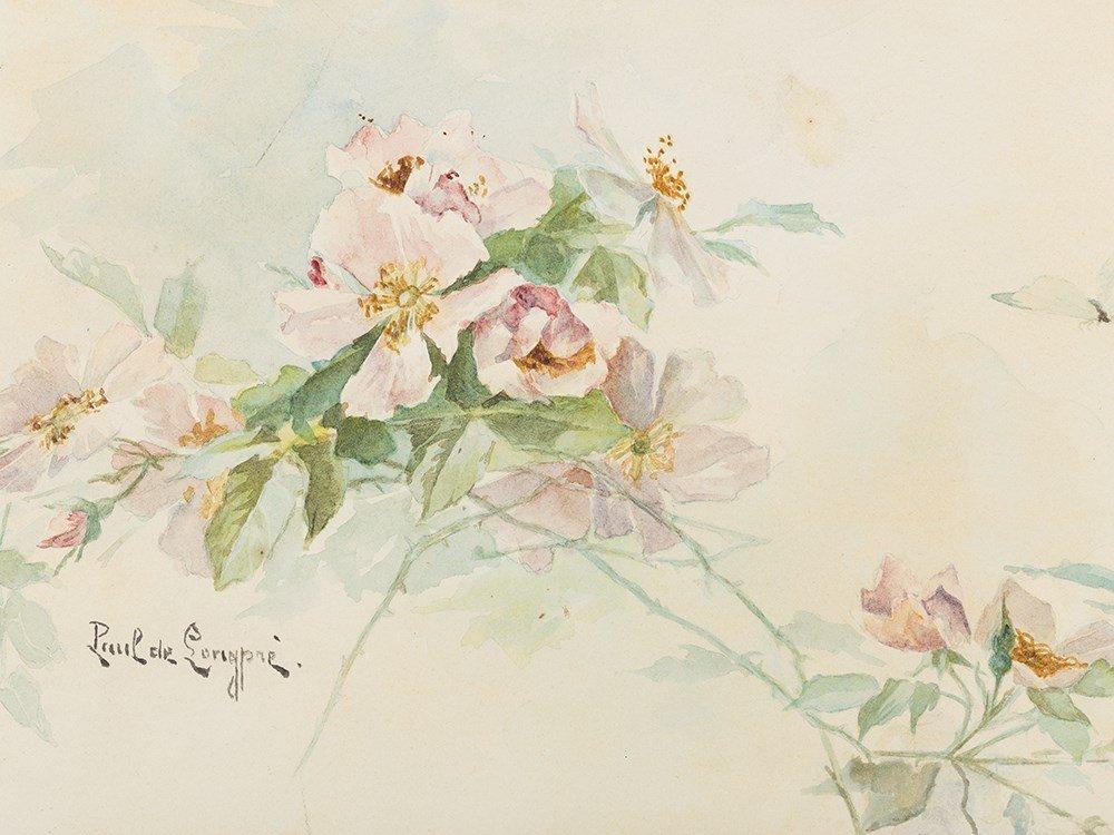 Paul de Longpré (1855-1911), Roses, Watercolor, c. 1900