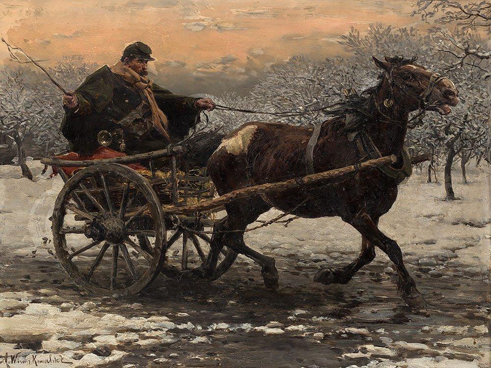 Alfred von Wierusz-Kowalski, Horse & Cart in the Snow,
