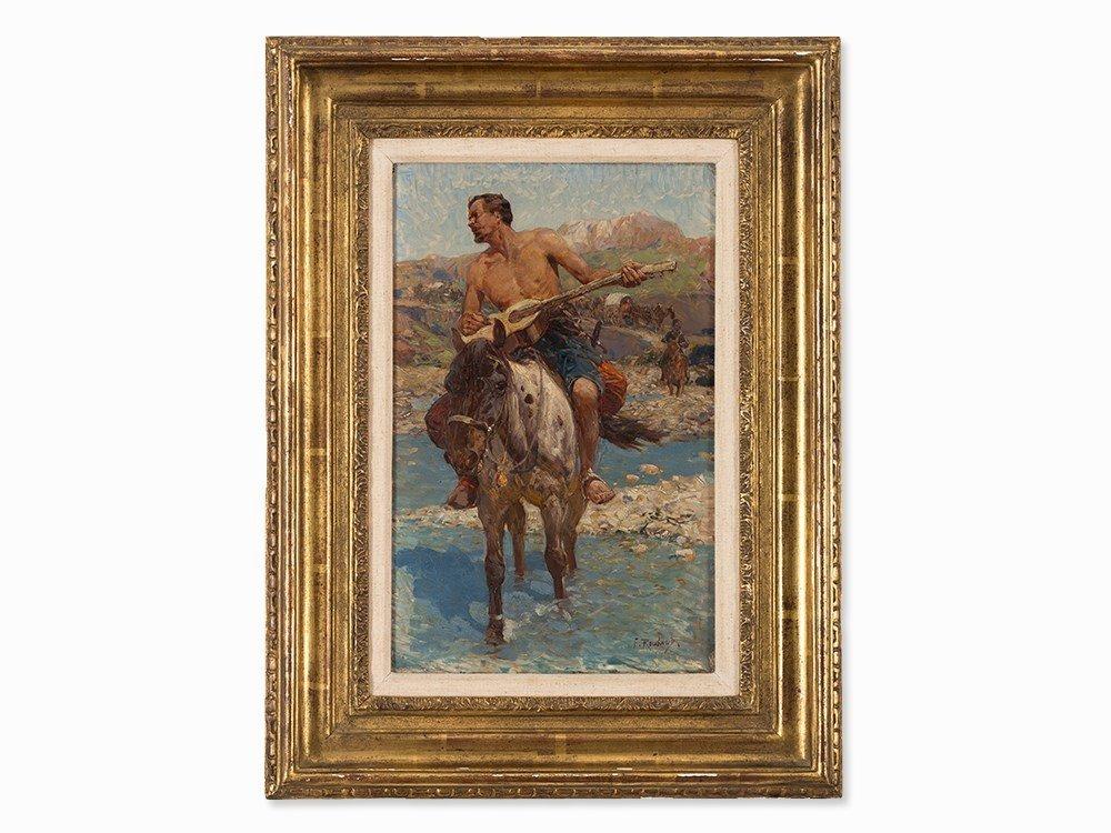 Franz Roubaud (1856-1928), Caucasian Horseman, Oil,