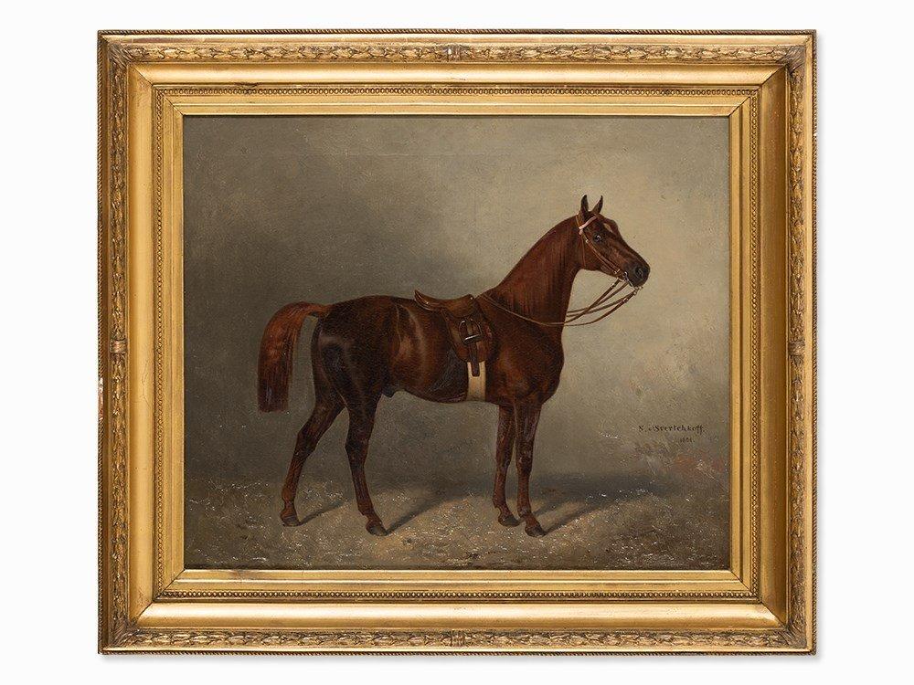 Nikolai Sverchkov (1817-1898), Noble Racehorse, Oil,