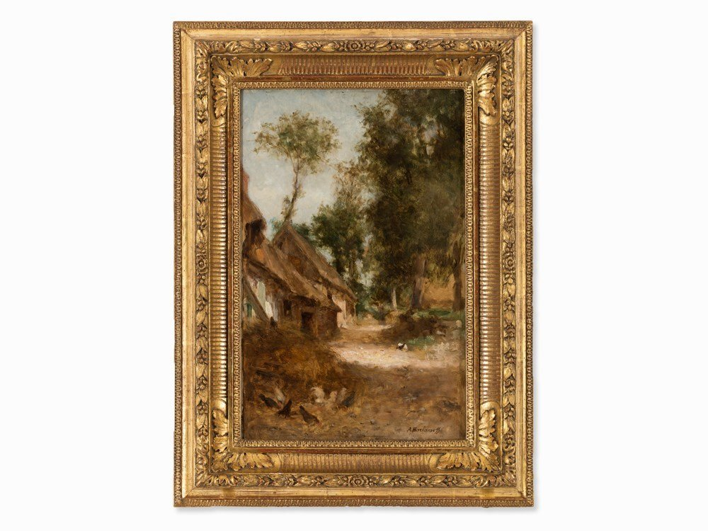 Alexei Harlamoff (1840-1925), A Farmhouse, Oil, c. 1900