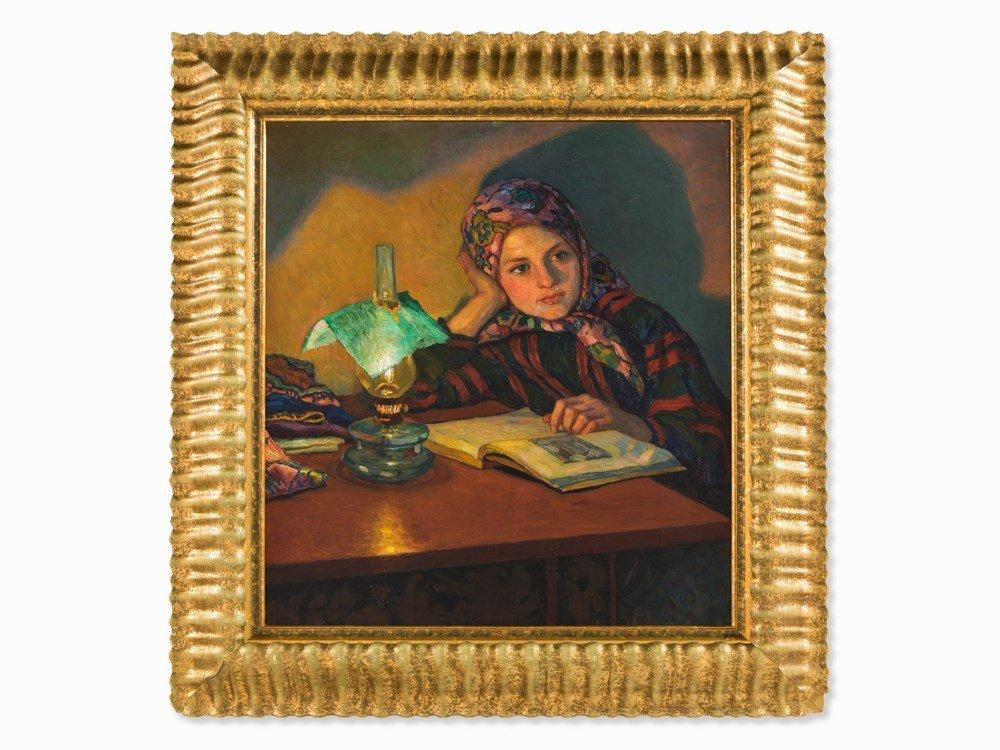 Nikolaj Bogdanov-Belsky, Portrait of a Girl, Oil,