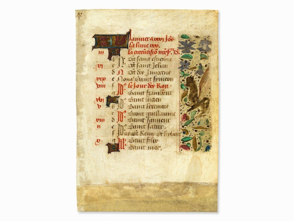 January Calendar Leaf from a French Book of Hours, c.