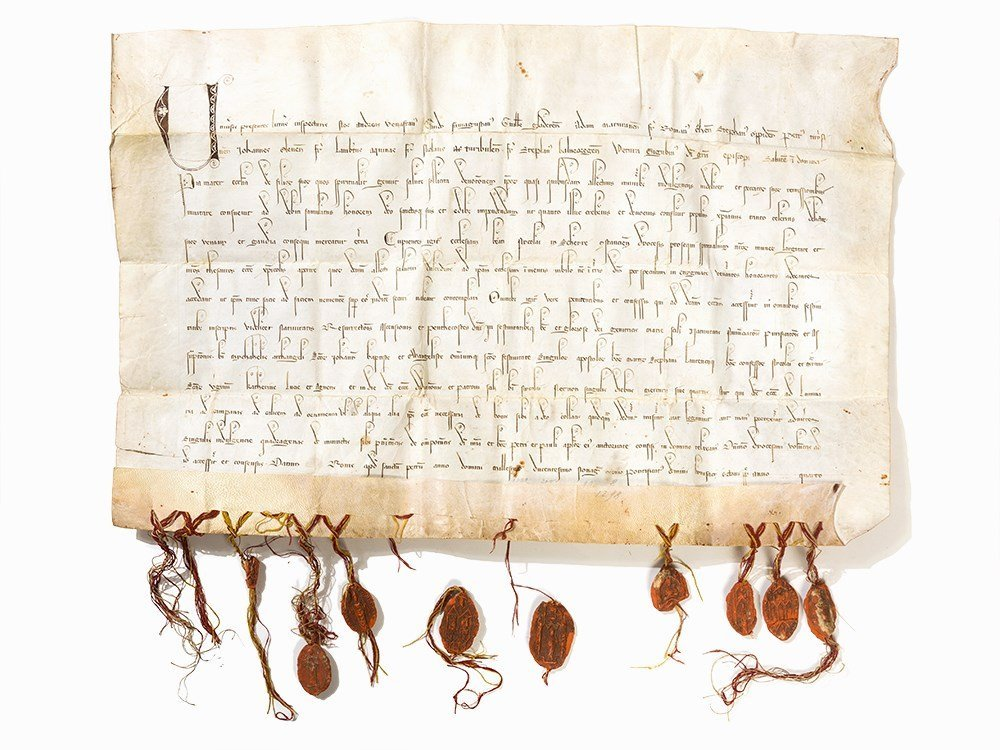 Letter of Indulgence with Episcopal Seals, 1298
