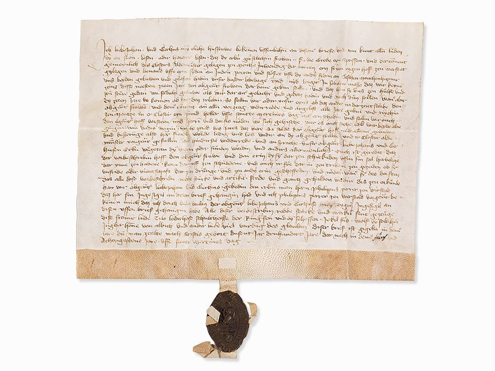 Clerical Letter in German with Intact Seal, 1385