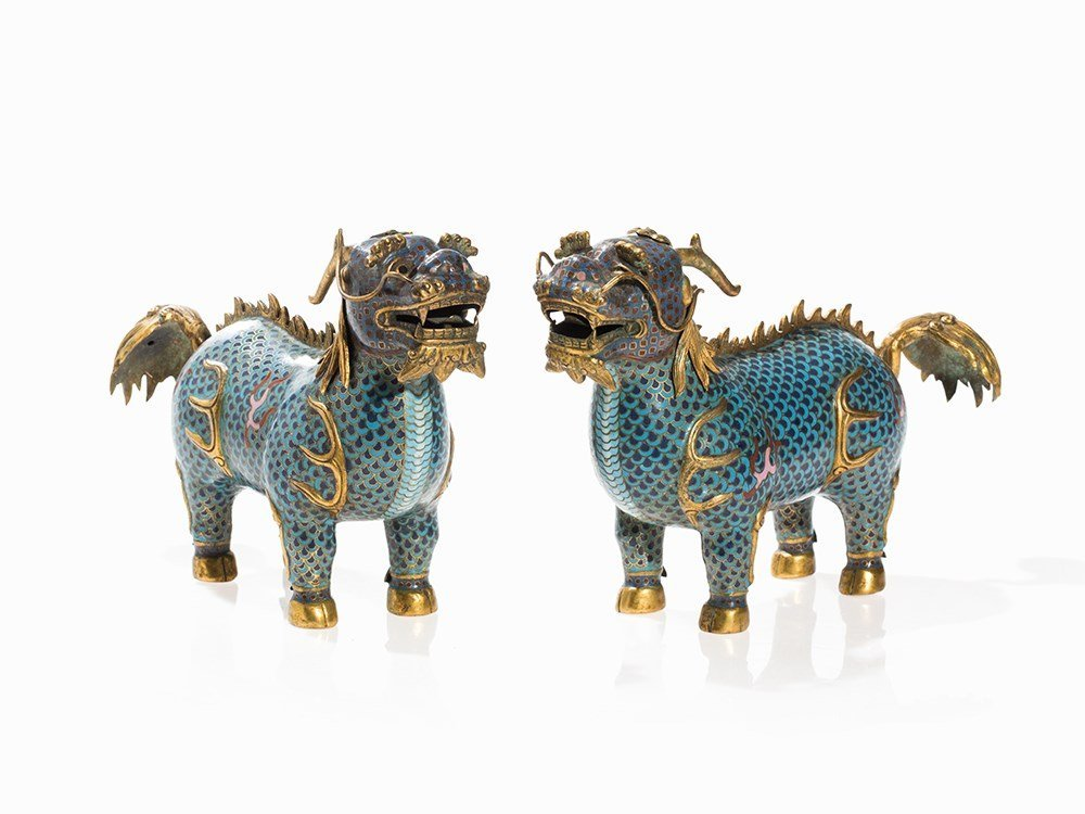 Pair of Cloisonné Figures of Qilins, China, 18th/19th
