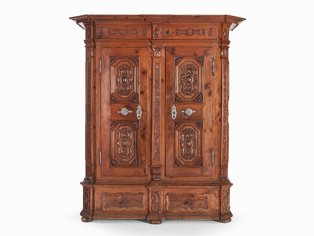 Armoire, Softwood with Carvings, Baroque, dated 1640