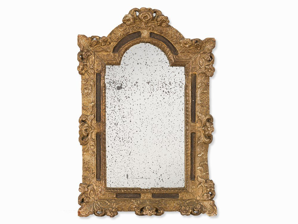 Louis XV Wall Mirror With Floral Framing, France,