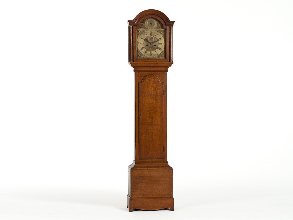 English Grandfather Clock with Oak Case and Ornate