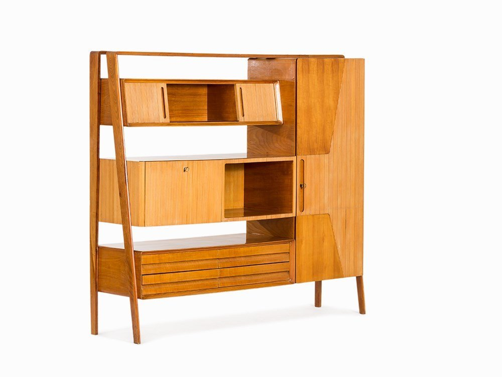 Multifunctional Cherrywood Wall Unit, Italy, 1950s