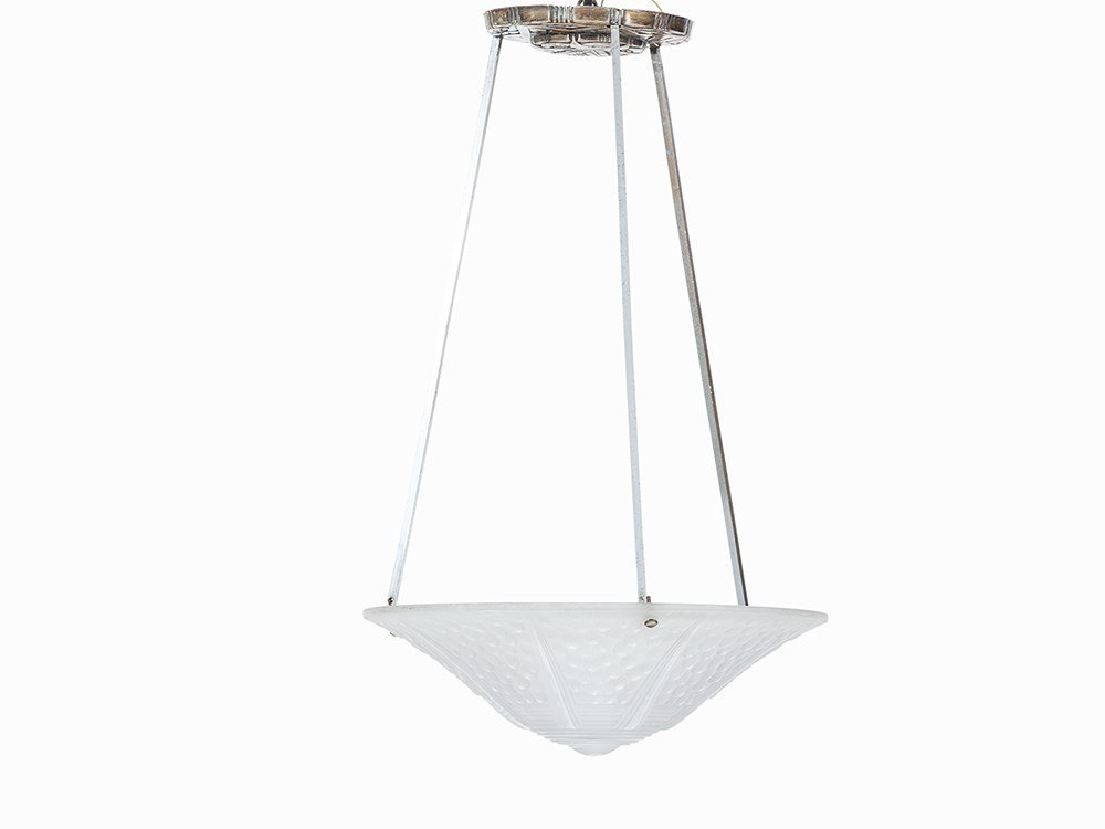 Muller Frères, Art Déco Ceiling Lamp, France, c. 1930