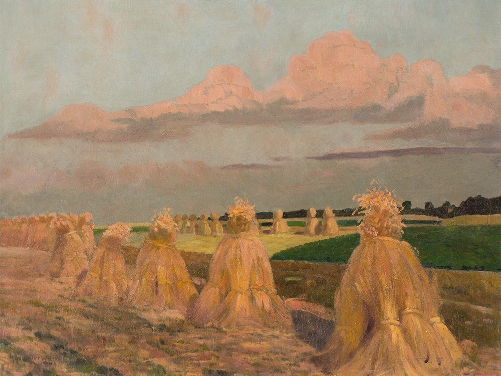 Gustav Wunderwald (1882-1945), Painting, Haystacks,
