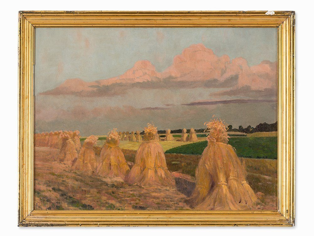 Gustav Wunderwald (1882-1945), Painting, Haystacks, - 2