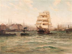 Alfred Jensen (1859-1935), Painting, Ships In The Port,
