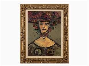 René Portocarrero (1912-1985), Lady with Hat, Oil