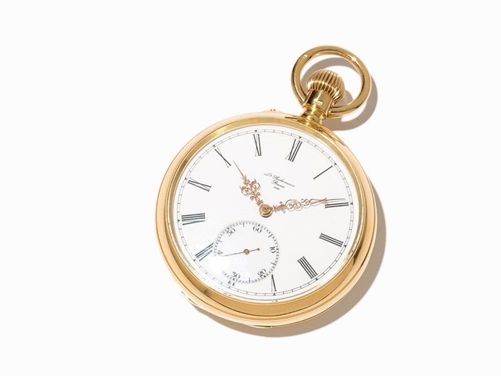 Gold pocket watch, movement made c. 1874, case added in