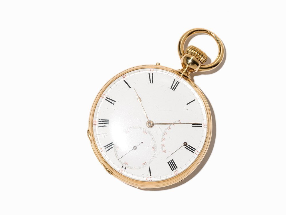 Gold pocket watch with power reserve display, Around
