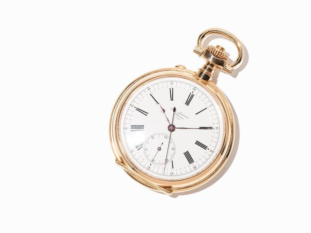 Gold Pocket Watch, Lever Chronometer with Chronograph,