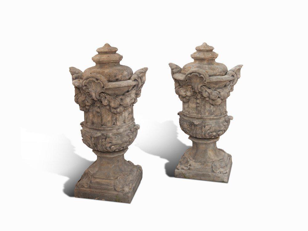 Pair Of Lidded Vases, Cast Stone, Bohemia, 20th Century