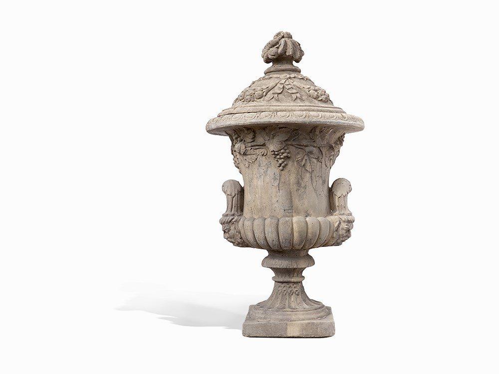 A Stone Cast Lidded Vase, Late 20th Century