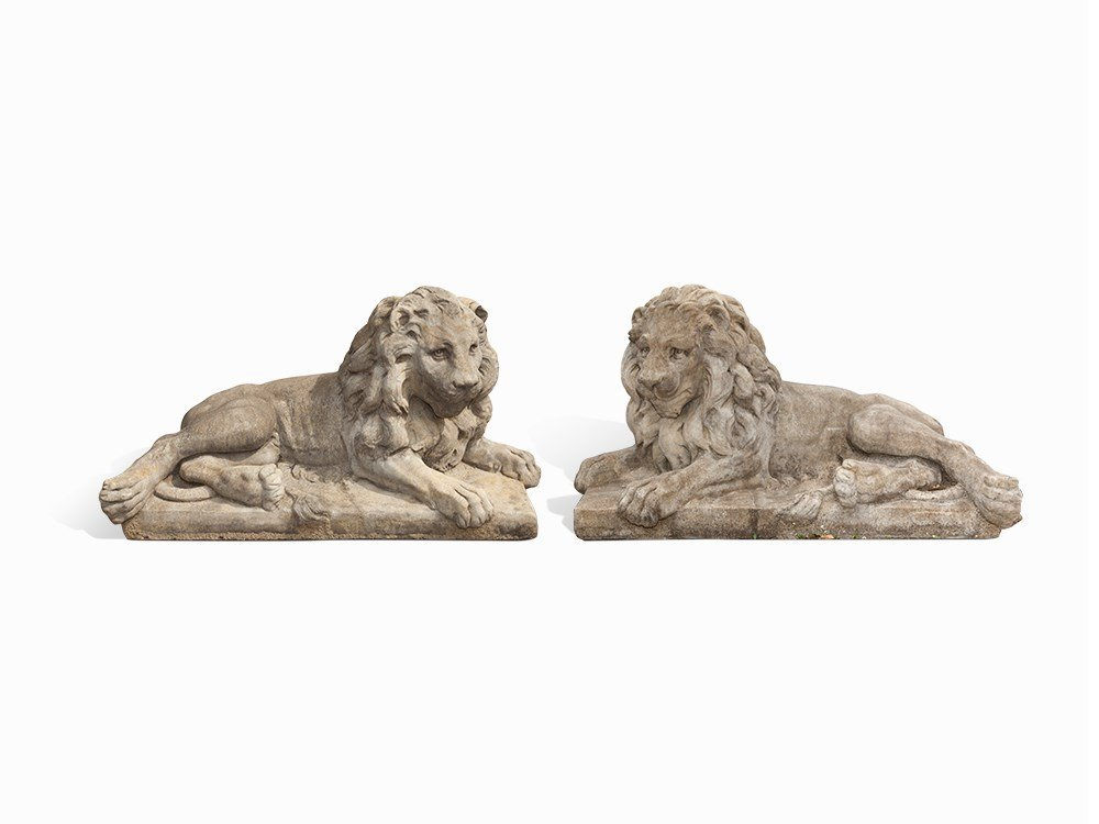 Pair of Lying Lions, Cast Sandstone, Czech Republic,