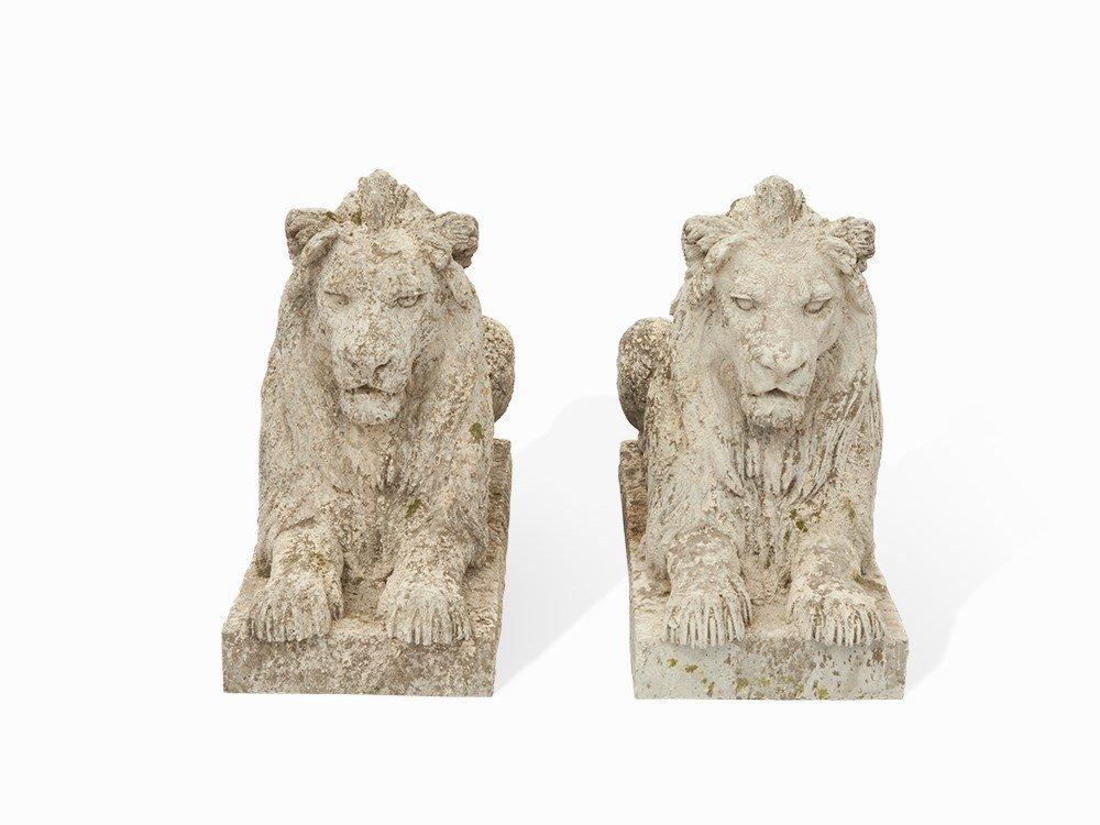 A Pair of Lion Figures, Cast Stone, France, 20th C.