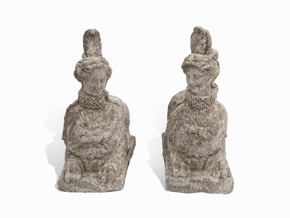 Pair of Sphinxes, Cast Stone, France, 20th Century