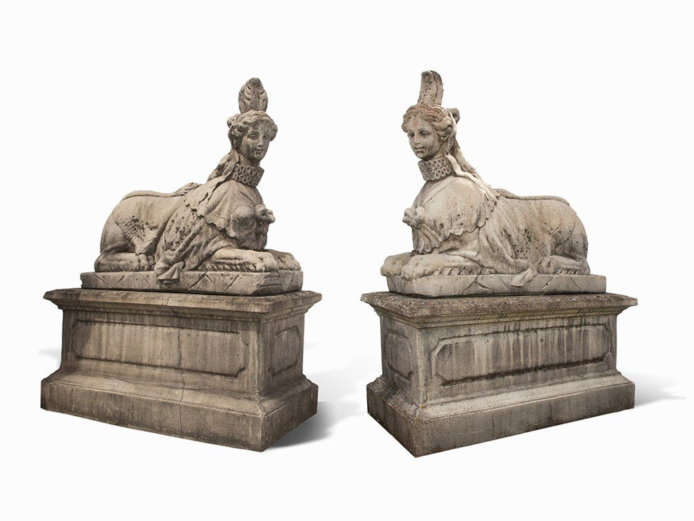 Pair of Sphinxes with Bases, Cast Stone, 20th Century