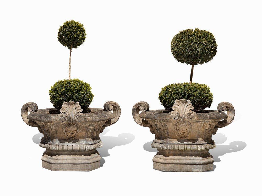 A Pair of Louis XVI Style Sandstone Garden Vases, 20th