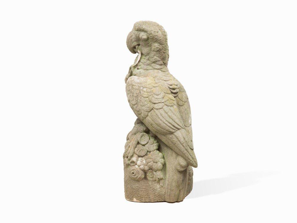 Parrot on Floral Setting, Sandstone Figure, Germany, c.