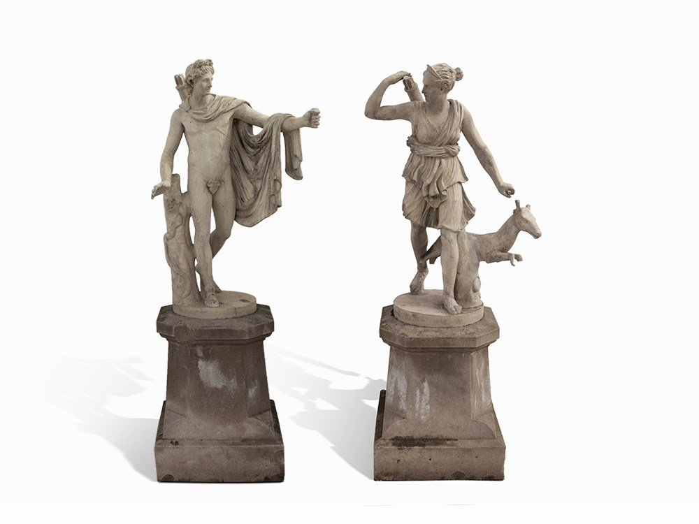 Pair of Sculptures, Apollo and Diana, France, 2nd H.