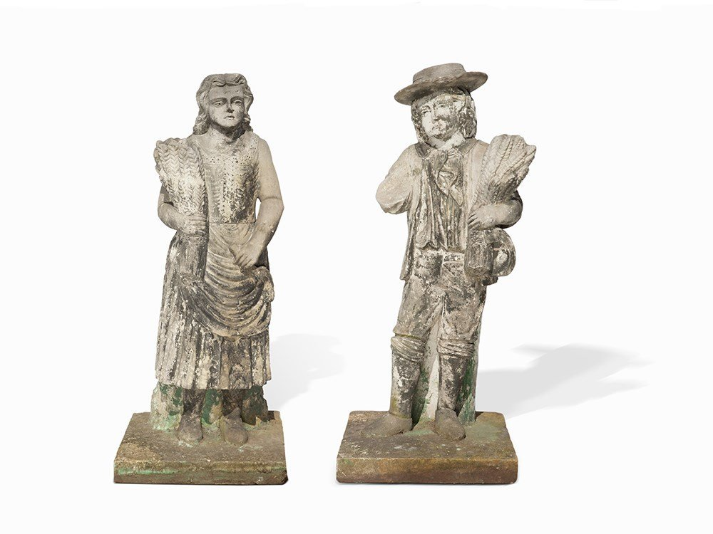 A Farmer And His Wife, Sandstone, prob. Bohemia, around